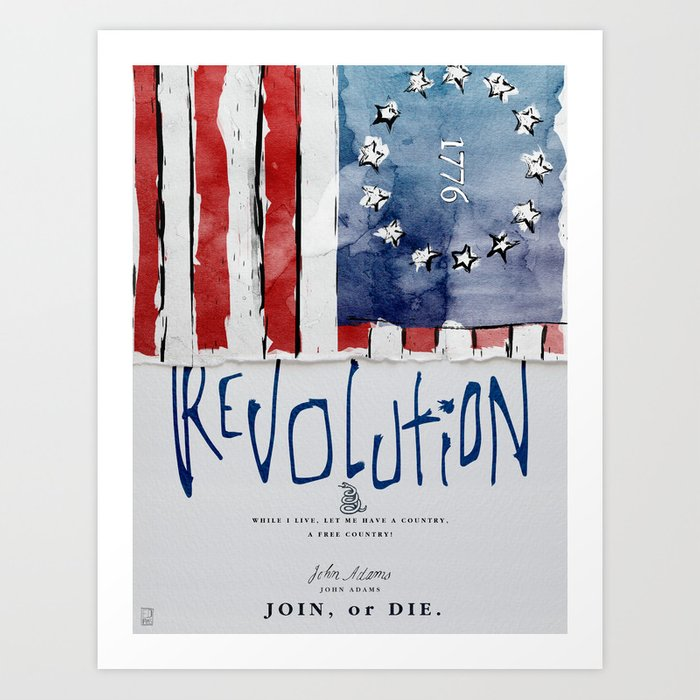 1776, Revolution, Join Or die Art Print by edpires