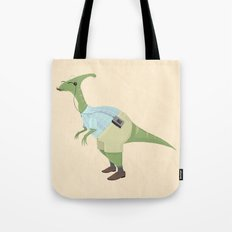Hipster Dinosaur jams to some indie tunes on his walkman Tote Bag