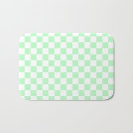 Small Checkered - White and Mint Green Bath Mat