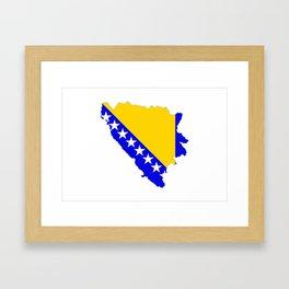 bosnia herzegovina flag map Framed Art Print