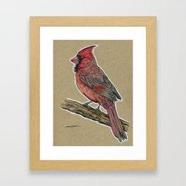 State Bird Series: Indiana - Cardinal Framed Art Print