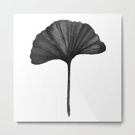 Black Ginko Leaf - Minimalist Nature Metal Print