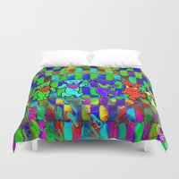 grateful dead Duvet Covers featuring Grateful Dead Dancing Bears Colorful Psychedelic Characters #2 by CAP Artwork & Design
