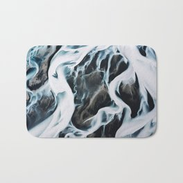 Aerial of an abstract River in Iceland Bath Mat