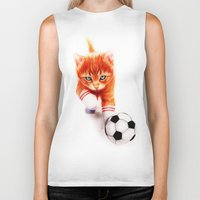 soccer Biker Tanks featuring Soccer Kitty by Isaiah K. Stephens