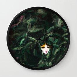 japanese bobtail cat hidden in urban jungle foliage Wall Clock