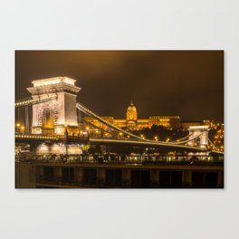 The Chain Bridge and the Budapest Castle at night Canvas Print