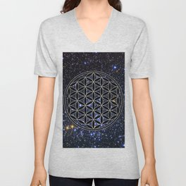 Flower of life in the space Unisex V-Neck