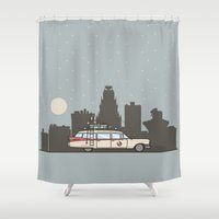 ghostbusters Shower Curtains featuring Ghostbusters Ecto-1 by M. Gulin