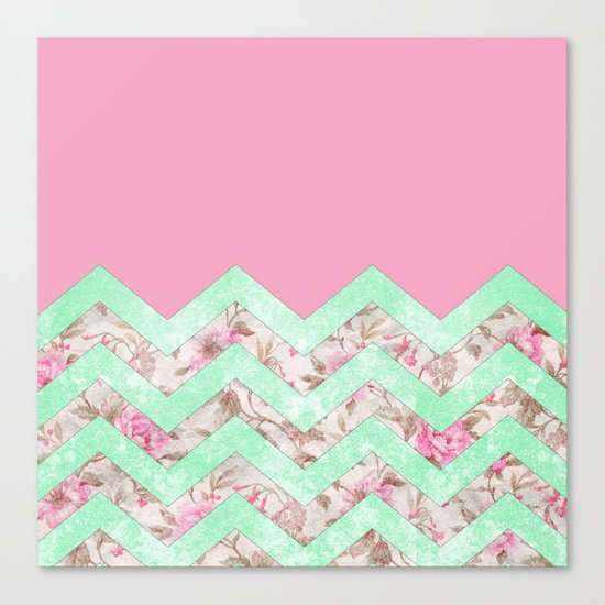 Girly Mint Green Pink Floral Block Chevron Pattern Canvas Print