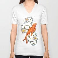 koi fish V-neck T-shirts featuring Koi Fish by Eleni Kakoullis