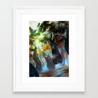 magic the gathering Framed Art Prints featuring Forest - Magic: The Gathering by vmeignaud
