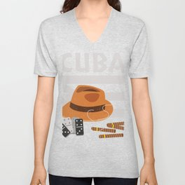 Cuba Cigars Fedoras and Dominos Gift Design Idea design Unisex V-Neck