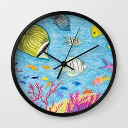 Crayon Fish #4 Wall Clock