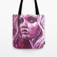 lindsay lohan Tote Bags featuring Lindsay Wixson by .Esz
