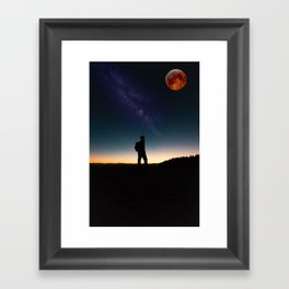 The Milky Way, The Blood Moon and the Explorer by Adam Asar Framed Art Print