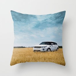 Abandoned Car Art Evoque in field Throw Pillow
