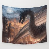 smaug Wall Tapestries featuring Elegy of Fire by Liancary
