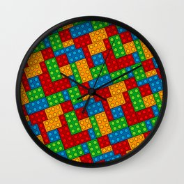 Building Blocks, Red Blue Green Yellow Bricks Wall Clock