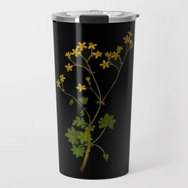 Cineraria Geifolia Mary Delany Delicate Paper Flower Collage Black Background Floral Botanical Travel Mug