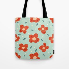 Simple Pretty Orange Flowers Pattern Tote Bag