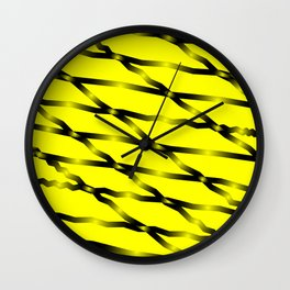 Slanting black lines and rhombuses on yellow with intersection of glare. Wall Clock