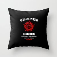 winchester Throw Pillows featuring Winchester Brothers by Yiannis