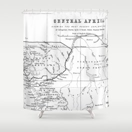 Black And White Vintage Map Of Africa Shower Curtain