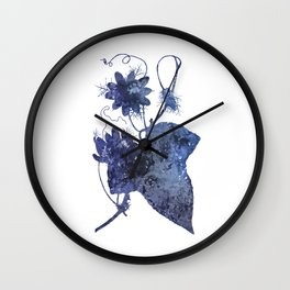 Watercolor Indigo Passion Flower Wall Clock