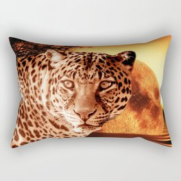 Leopard and Red Moon Rectangular Pillow