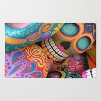 sugar skulls Area & Throw Rugs featuring sugar skulls by wet yeti