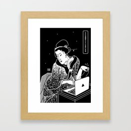 Young woman makes a video call Framed Art Print
