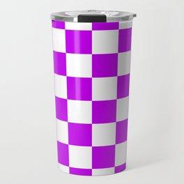 Cheerful Purple Checkerboard Pattern Travel Mug
