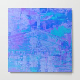 Totem Pole Cabin Abstract - Blues & Purples Metal Print