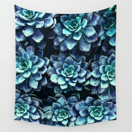 Blue And Green Succulent Plants Wall Tapestry