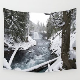 The Wild McKenzie River Waterfall - Nature Photography Wall Tapestry