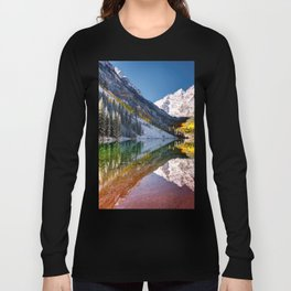 OLena Art Maroon Bells And Maroon Lake Near Aspen Colordo Long Sleeve T-shirt
