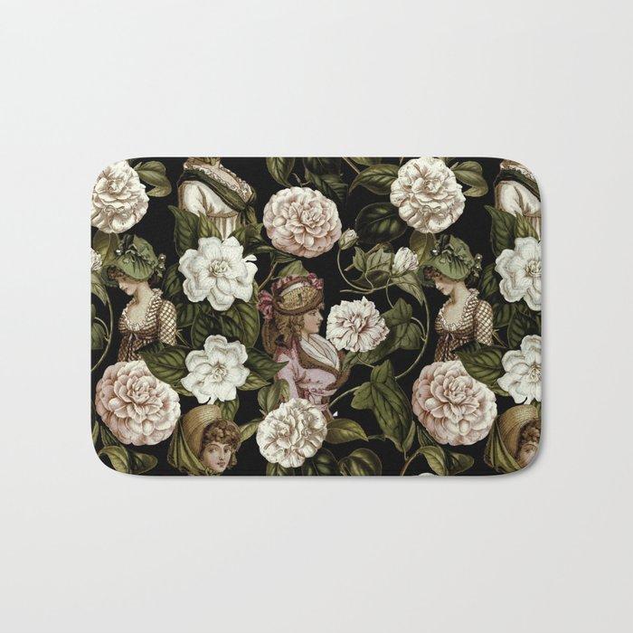 Vintage Botanical Flower Lady Pattern Bath Mat