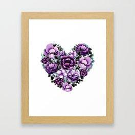 Purple Floral Heart Design Framed Art Print