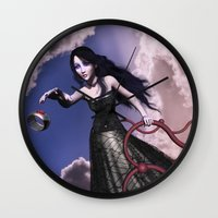 lord of the ring Wall Clocks featuring Ring by Britta Glodde