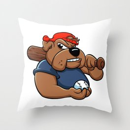 fat bulldog baseball player Throw Pillow