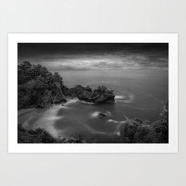 Big Sur, California Pacific Coast Highway coastal beach black and white photograph / art photography Art Print