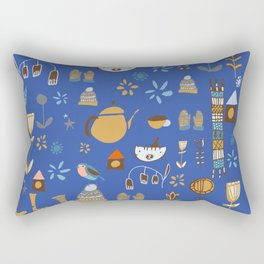 hygge cat and bird blue Rectangular Pillow
