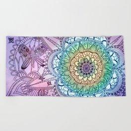 Purple Butterfly Mandala Beach Towel