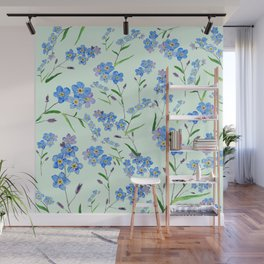 forget me not in green background Wall Mural