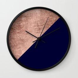 Minimalist rose gold navy blue color block geometric Wall Clock