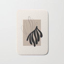 Florid - Henri Matisse Style Abstract Minimal Art Illustration - Black and Beige Floral Design Bath Mat