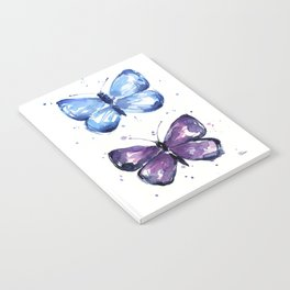 Butterflies Watercolor Blue and Purple Butterfly Notebook