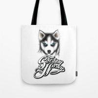 husky Tote Bags featuring Siberian Husky by Det Tidkun