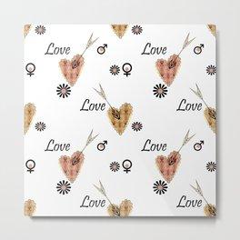Love . Openwork heart pierced by an arrow . Metal Print